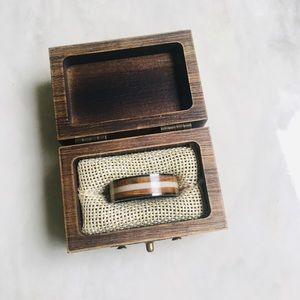 Jewelry - Artisan made antler and wood men's ring
